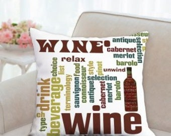 Drink Wine Texted Designer Pillow