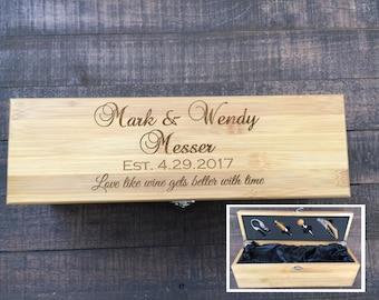 Wedding Wine Box, Personalized Wooden Wine Box, Anniversary Wine Box, Personalized Custom Engraved Wine Box, Bamboo Wine Box, Wedding Gift