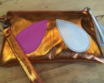 Clutch bag handmade from faux leather