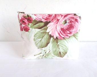Cosmetic bag, romantic purse, makeup organizer, rose clutch, linen and cotton purse, canvas small bag, Bridesmaid purse, flat clutch purse