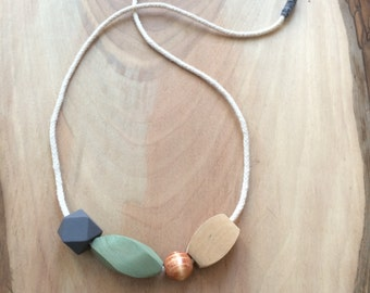 Sage Green Wooden Bead & Rope Necklace