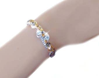 Steampunk bracelet, watch gear bracelet, gold steampunk bracelet, crystal steampunk bracelet, steampunk jewelry, elegant jewelry, OOAK