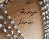 The Vintage Junkie...Long Layering Silvered Czech Crystal Beaded Necklace