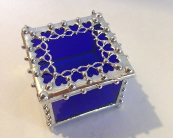 Blue, Stained Glass, Ring Box, with Metal Lace Edge / Trinket Box / Heart Box / Cobalt Blue Jewelry Box