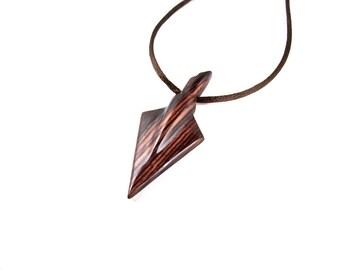 Arrowhead Pendant, Arrowhead Necklace, Mens Arrowhead Necklace, Wood Arrowhead Necklace, Mens Tribal Necklace, Arrow Necklace, Arrow Jewelry