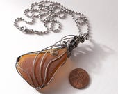 """Antiqued 20 Gauge Sterling Silver Wire Wrapped Rhode Island Brown Sea Glass on a Stainless Steel 2.4MM Bead Chain with a Lobster Clasp 20"""""""