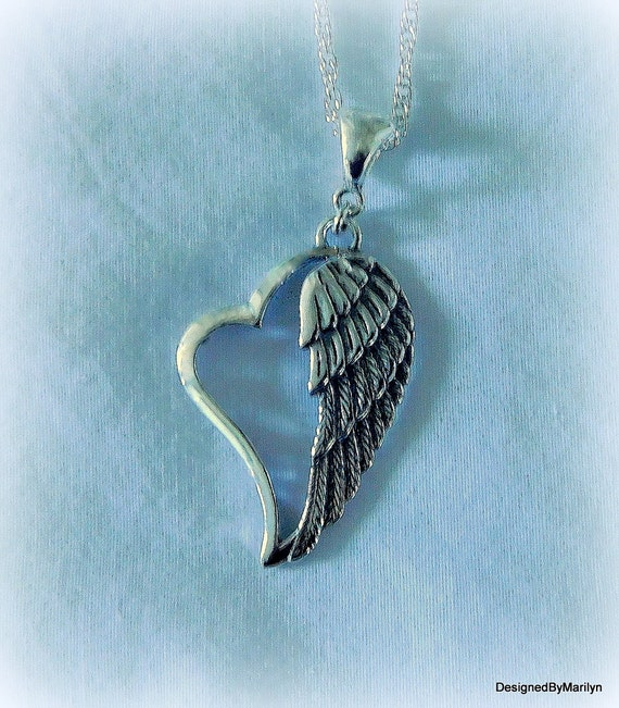 Sterling silver angel wing necklace, spiritual jewelry,  memorial necklace, religious necklace, Guardian Angel