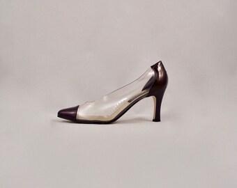 crystal clear 90s clear heel / pointed toe heel / clear heels / 9.5 - 41 / statement heels / minimalist / pointy toe heels / modernist