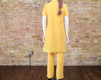 marigold silk pant set / matching set / silk pant suit / long silk top / colorblock / high waist silk pants / minimalist / silk pants