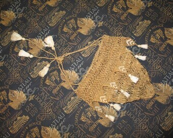ANTIQUE circa 1800s Victorian Edwardian Crochet Lace BRIDAL Drawstring Purse or Lingerie Bag-Delicate Hand Made Lace