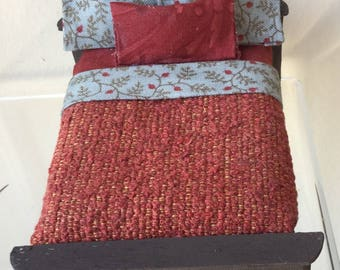 Dollhouse Miniature Bed with Rust Color Covering (JB)