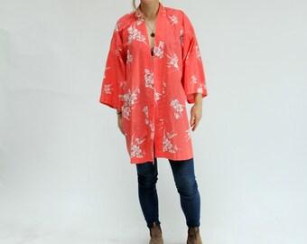 Vintage Kimono Robe Floral Coverup 90s Vintage Robe