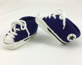 Crochet Converse Style/Chucks Baby Booties. Size 2 (Upto 6 Months)- Royal Blue