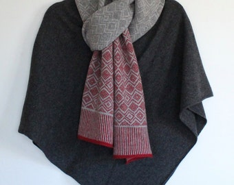 Soft Merino Lambswool Scandi Scarf in Berry Red, Uniform Grey and Pearl Grey