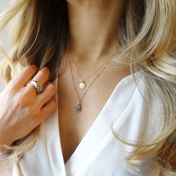 Gold Coin and Labradorite Laye Necklace