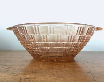 Unusual Sowerby style rose pink pressed glass serving bowl / dish