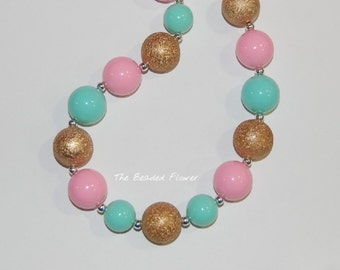 pink gold mint chunky bubblegum necklace girls birthday pageant necklace