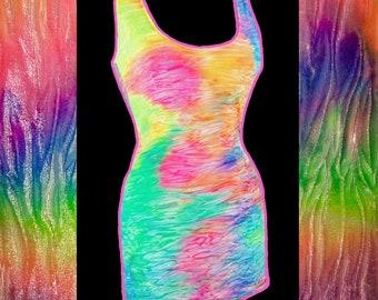 Rainbow Unicorn Velvet Body Con Dress