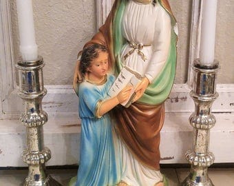 Vtg St Anne and Child cHalKwaRe statue old PlasTer figure religious Mary figurine