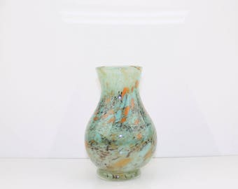 Hand blown glass footed vase –Turquoise with terra cotta, persimmon and black high lights