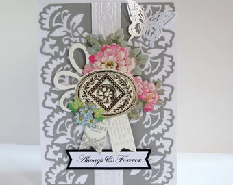 Handmade Victorian style Always & Forever Wedding card, Fancy wedding card,Embellished wedding card,Handmade engagement card