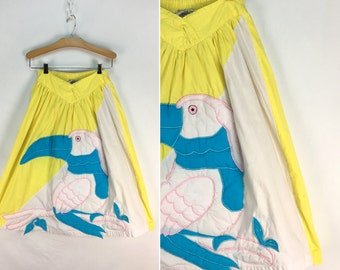 Vintage 80s TOUCAN Skirt by Sinahi Size 5 // Tropical // Bird // Zoo // Jungle // Colorful // 1980s // 90s // Parrot // Cotton // 1990s