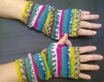 Striped wrist warmers -  bright colours - fingerless gloves