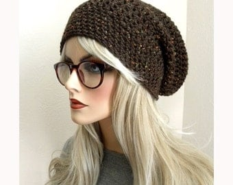 Wool Slouchy Beanie, Crocheted Hat, Boho Chic, brown tweed, Winter hat, Knit Hat, Women's Slouchy Hat, Accessories, Gifts for Teens