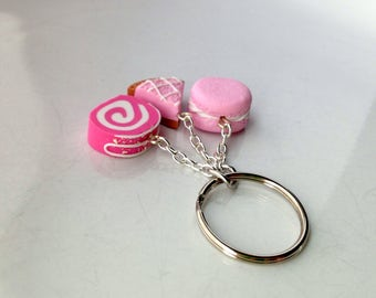Pink Cake and Candy Keyring Keychain, Polymer Clay Miniature Food Jewelry Jewellery Gift Idea Food Gifts for her
