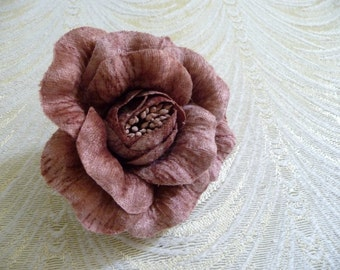 Dusty Pink Mauve Velvet Rose Millinery Flower Plum Shading with Brooch Pin Hat Corsage Fascinator