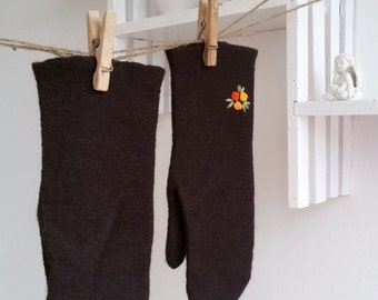 Brown wool mittens felted merino Gloves with embroidered flowers yellow orange  flowers Winter mittens Women gloves Gift