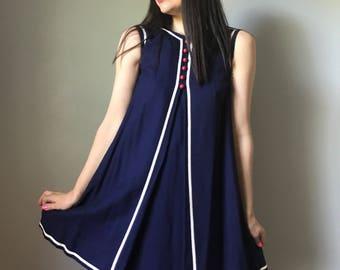60s mod mini dress | navy shift dress | a-line babydoll dress