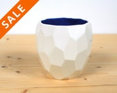Modern ceramic cup handmade in polygons - facetted design Poligon Cup - bright color tableware - squared tableware - fresh - Cobalt blue