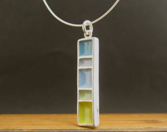 Longitude Necklace - New Century Modern - Blue and Green Reversible Enamel Necklace