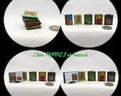 Miniature Book -- CLASSIC Children's Story Book Set of 5 Miniature Books Dollhouse 1:12 scale Readable Illustrated Books