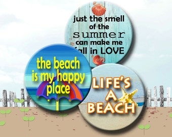 Printable Download - I LOVE THE BEACH -  2.5 inch Digital Collage Sheet for Pocket Mirrors, Magnets, Paper Weights. Instant Download #244.