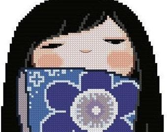 Japanese Kokeshi Girly Doll AZUMI -Cross Stitch Pdf Pattern