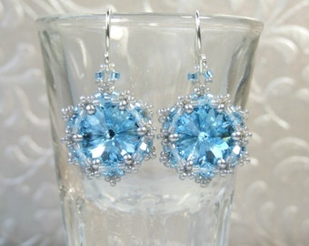 Aquamarine Earrings Swarovski Crystal Earrings Light Blue Earrings Beadwork Jewelry Sterling Silver Sparkly Earrings Special Gift For Her