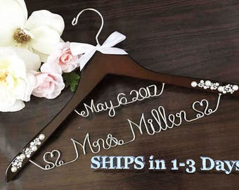 Ships 1-3 days. Rustic Hanger. Personalized Bridal Wedding Hanger. Bridal Hanger. Bridal Party. Custom Hanger. Comes With Bow