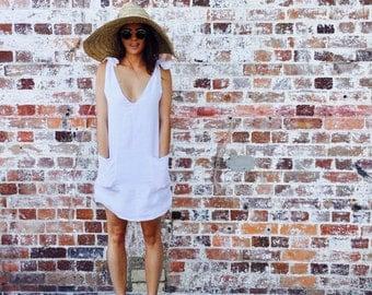 Linen Drifter Dress, Linen V Neck Dress - Short Ladies Dress - White Beach Dress