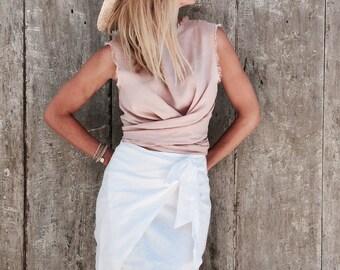 Ziggy Linen Top - Tie Styling Detail, Dust Pink Linen, Wrap Top, Linen Tie Top, Linen Tank