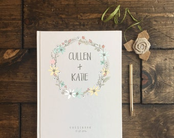 Rustic Floral Wedding Guest Book. Wedding Guestbook. Spring Fall Theme Wedding Journal. Keepsake Wedding Album. Custom Wedding Guestbook.