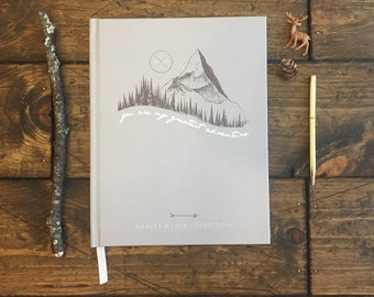 Custom Wedding Guestbook. Hipster Mountain and Moon Guestbook. Modern Wedding Guestbook. Wedding Gift. Wedding Journal. Keepsake Wedding