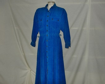 Sz 8 10 Corduroy Shirtwaist Dress - Avon - Snap Front - Long Sleeve - Modest - Full Skirt - Vintage 80s - Size Medium Large M L
