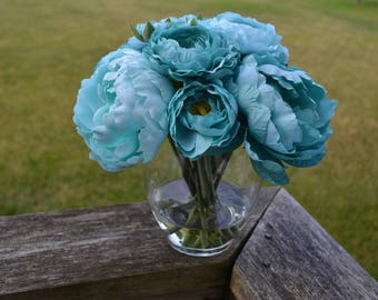 Light & Dark Teal Peonies in Glass Vase with Faux Water, Acrylic Water, Luxury Flowers, Blue Flowers