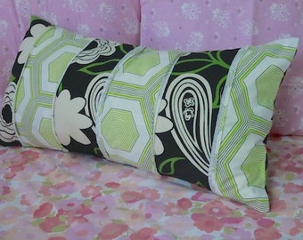 Mid Century Pillow Cover Unique Home Decor Geometric Hexagons Green Black White Brown Decorative Accent For the Home Housewarming Gift