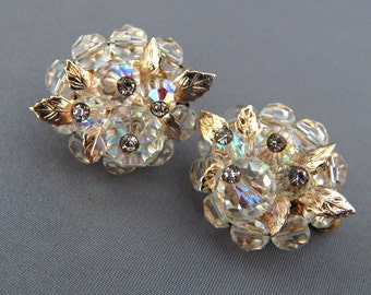 Vintage VENDOME Crystal Cluster Earrings Clip-Ons, Faceted AB Crystal Rhinestone Clip-Ons, Wedding Earrings, Estate Jewelry