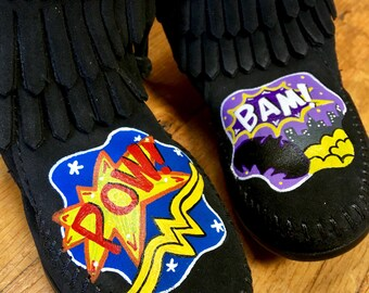 Custom Hand-Painted Wonder Woman Batgirl Superheroes Boots Moccasins