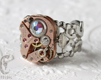 Steampunk Industrial Silver Filigree Adjustable Ring with Vintage Rose Gold Watch Movement and AB Light Amethyst Swarovski Crystal