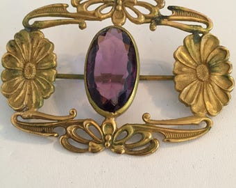 Victorian Art Nouveau Style Sash Brooch with Floral & Bow Design in Brass and an Amethyst Glass Stone...Large Sash Pin/Brooch